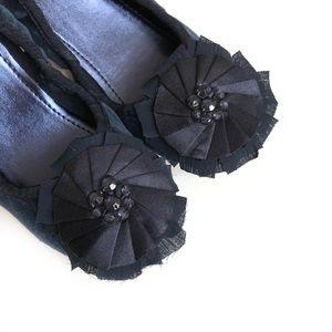 GAP dark blue velvet embellished ballet flats NWT
